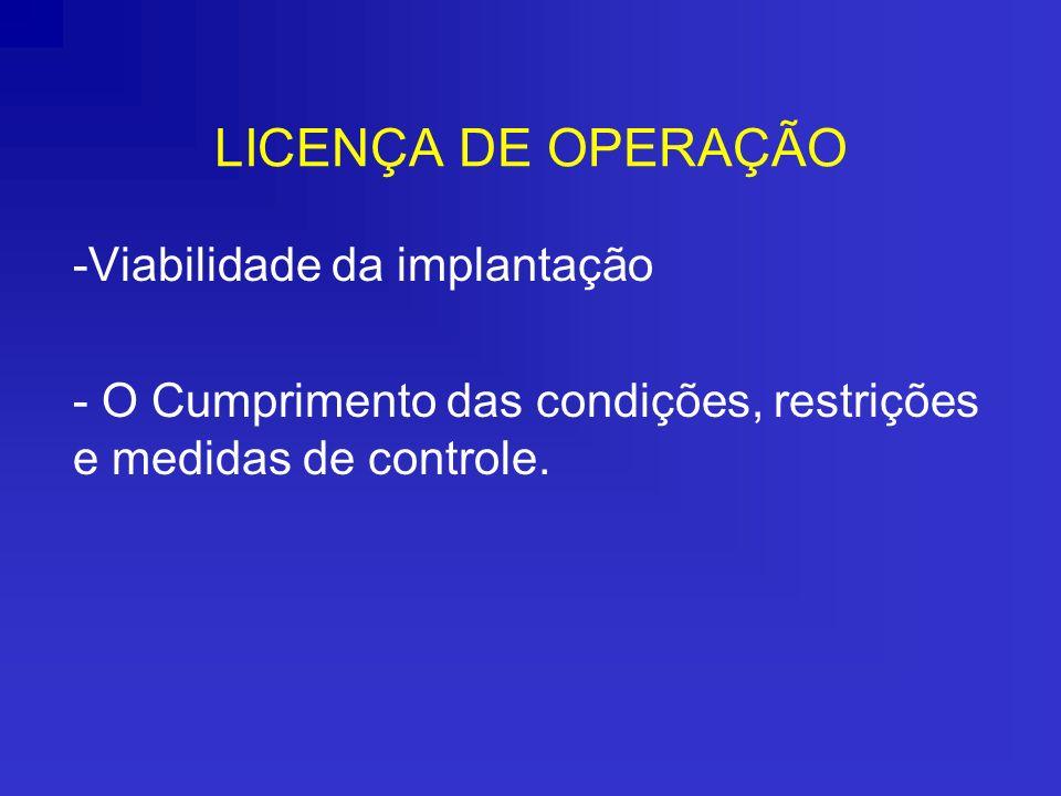 LICENÇA DE OPERAÇÃO Viabilidade da implantação