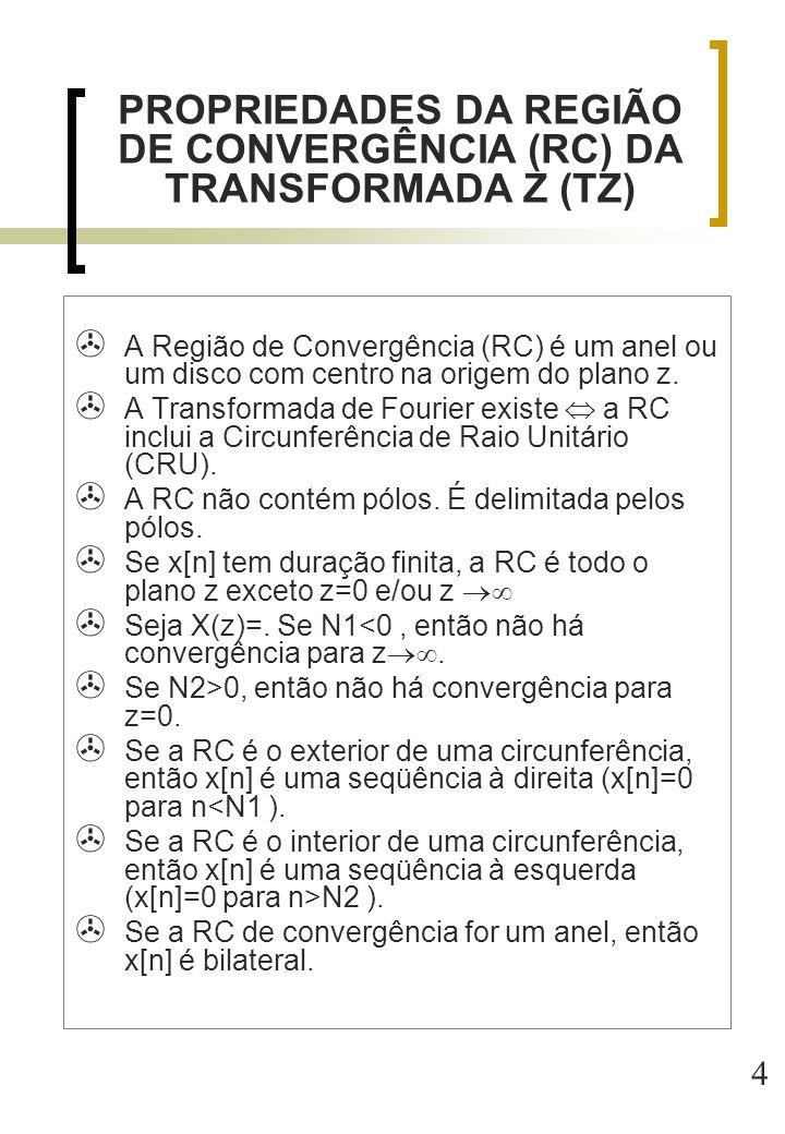 PROPRIEDADES DA REGIÃO DE CONVERGÊNCIA (RC) DA TRANSFORMADA Z (TZ)