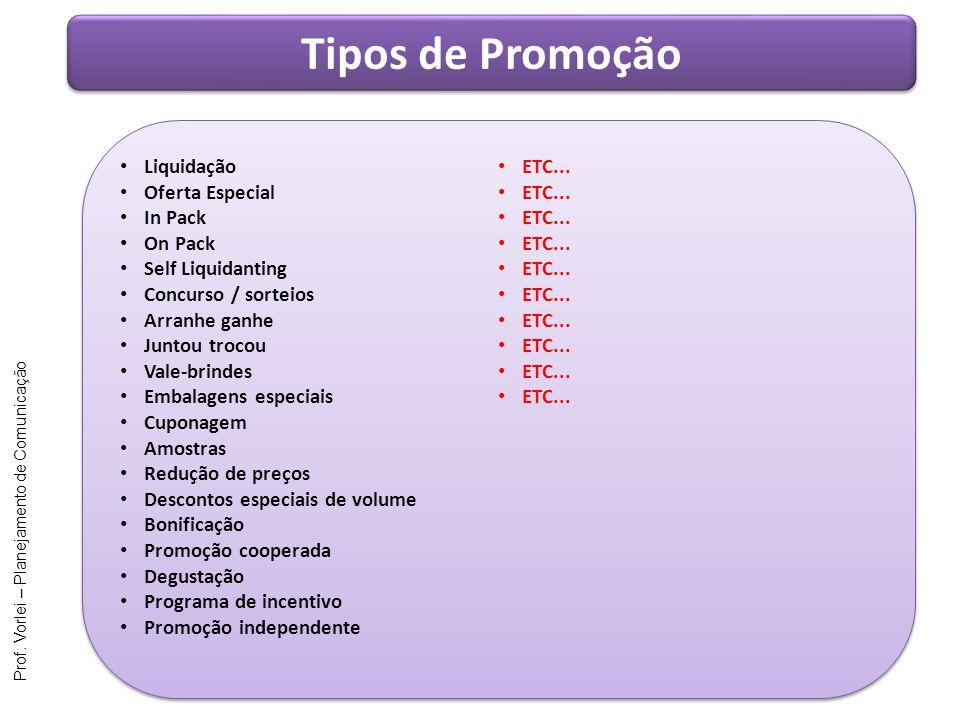 Tipos de Promoção Liquidação ETC... Oferta Especial In Pack On Pack