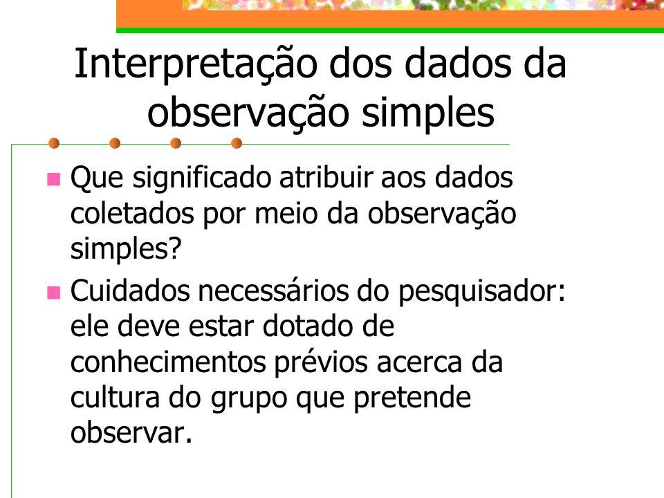 Interpretação dos dados da observação simples