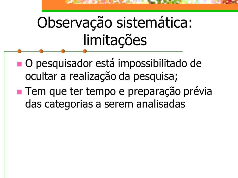 Observação sistemática: limitações