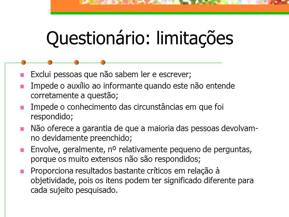 Questionário: limitações