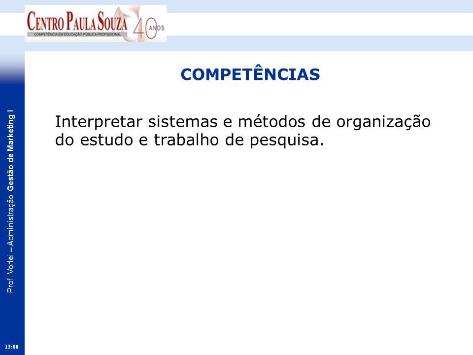 COMPETÊNCIAS Interpretar sistemas e métodos de organização do estudo e trabalho de pesquisa. 15:20