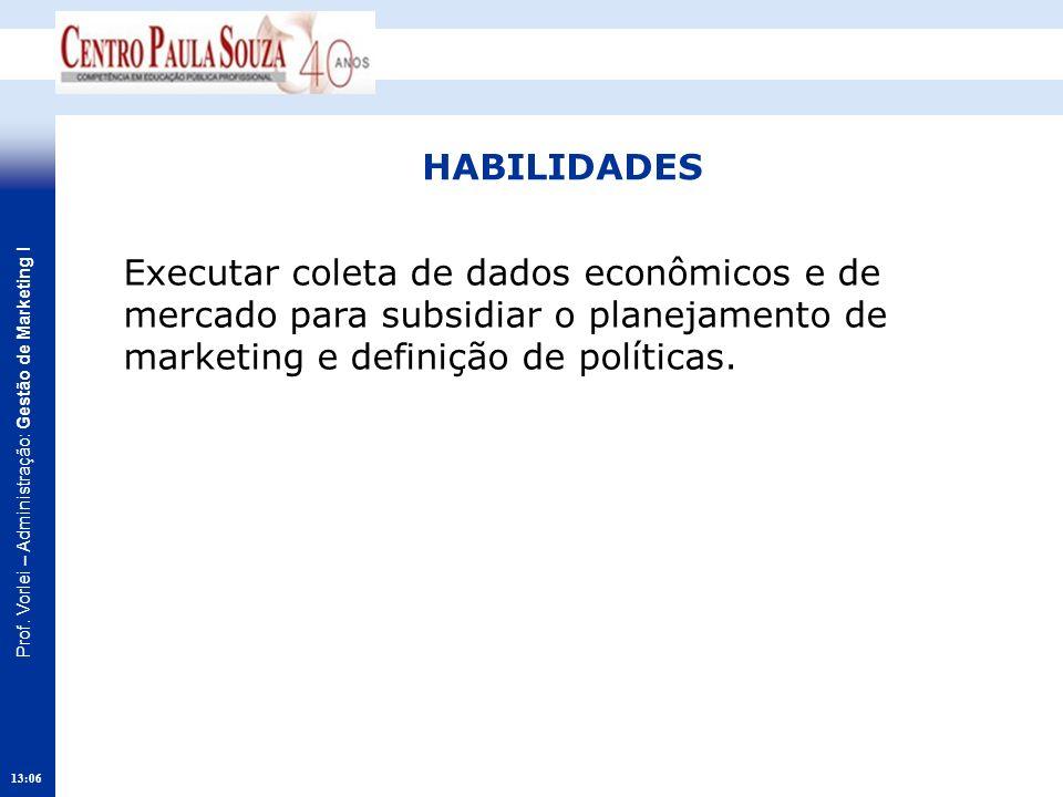 HABILIDADES Executar coleta de dados econômicos e de mercado para subsidiar o planejamento de marketing e definição de políticas.