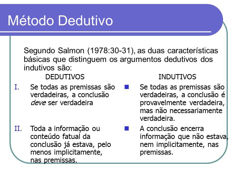 Método Dedutivo Segundo Salmon (1978:30-31), as duas características básicas que distinguem os argumentos dedutivos dos indutivos são: