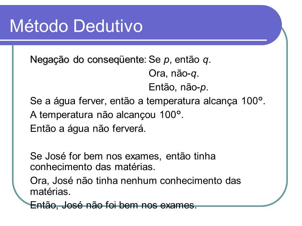 Método Dedutivo Negação do conseqüente: Se p, então q. Ora, não-q.