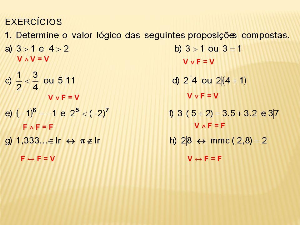 V ˄ V = V V ˅ F = V V ˅ F = V V ˅ F = V F ˄ F = F V ˄ F = F F ↔ F = V V ↔ F = F