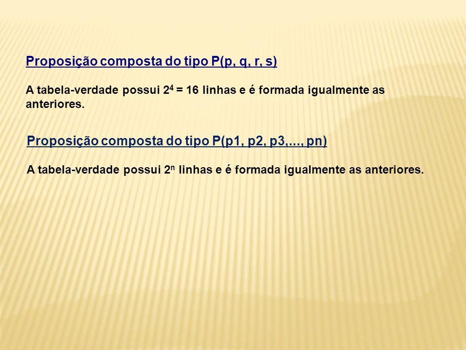 Proposição composta do tipo P(p, q, r, s) A tabela-verdade possui 24 = 16 linhas e é formada igualmente as anteriores.