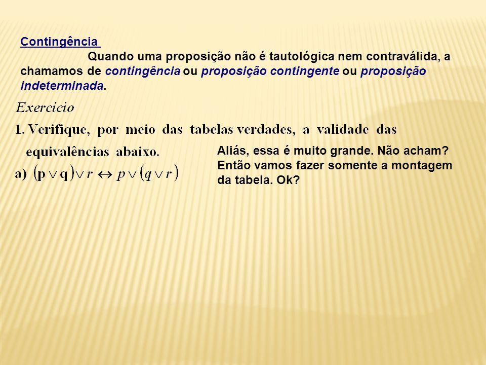 Contingência Quando uma proposição não é tautológica nem contraválida, a.