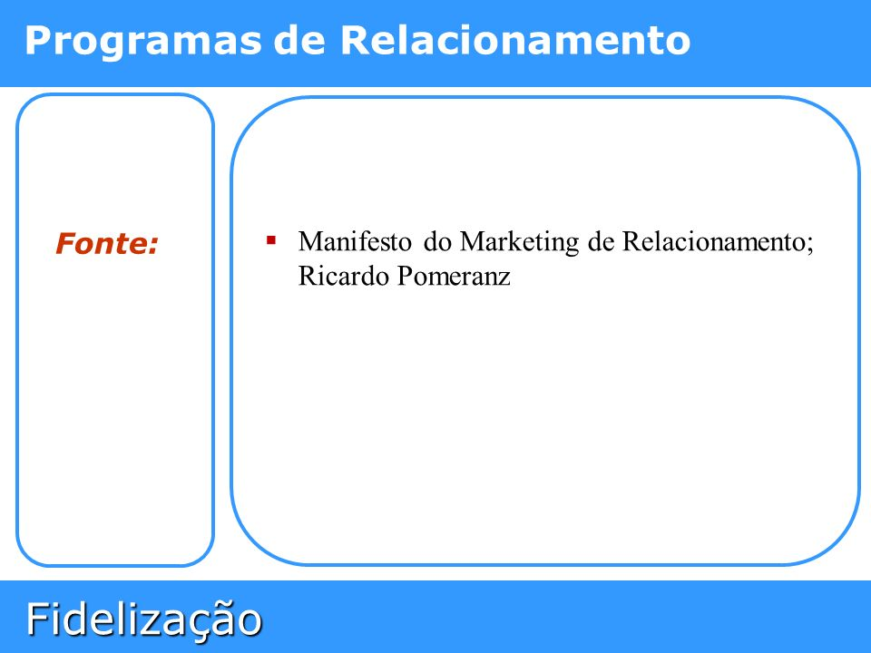 Fonte: Manifesto do Marketing de Relacionamento; Ricardo Pomeranz