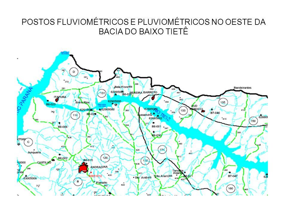 POSTOS FLUVIOMÉTRICOS E PLUVIOMÉTRICOS NO OESTE DA BACIA DO BAIXO TIETÊ