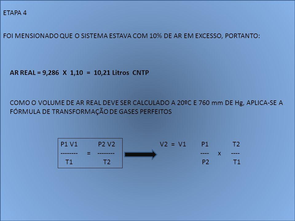 ETAPA 4 FOI MENSIONADO QUE O SISTEMA ESTAVA COM 10% DE AR EM EXCESSO, PORTANTO: AR REAL = 9,286 X 1,10 = 10,21 Litros CNTP.