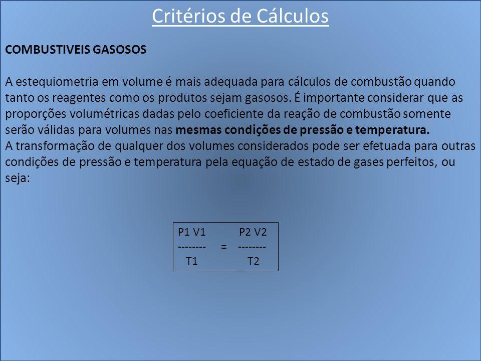 Critérios de Cálculos COMBUSTIVEIS GASOSOS