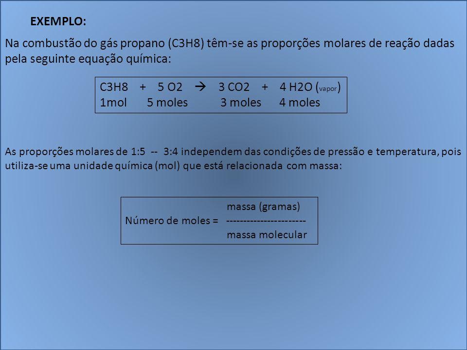 EXEMPLO: Na combustão do gás propano (C3H8) têm-se as proporções molares de reação dadas pela seguinte equação química: