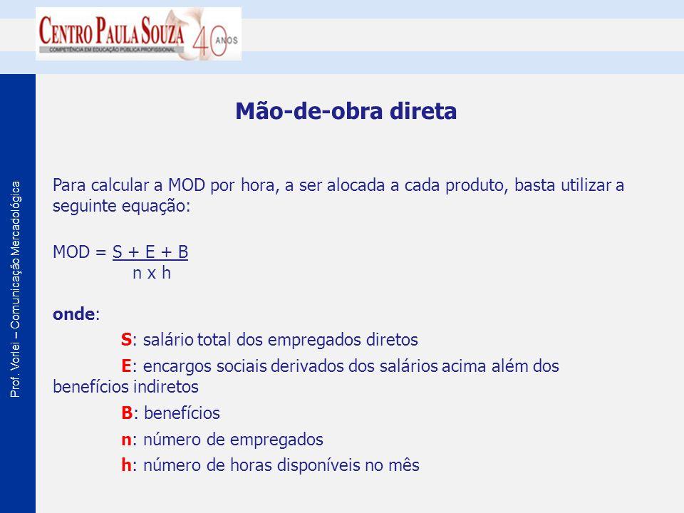 Mão-de-obra direta Para calcular a MOD por hora, a ser alocada a cada produto, basta utilizar a seguinte equação: