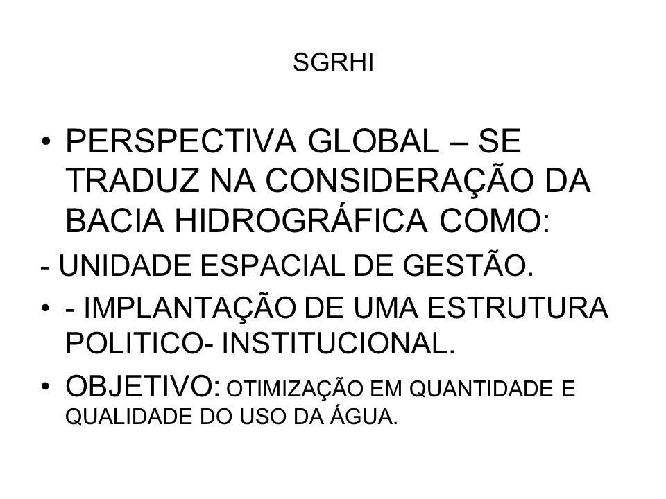 SGRHI PERSPECTIVA GLOBAL – SE TRADUZ NA CONSIDERAÇÃO DA BACIA HIDROGRÁFICA COMO: - UNIDADE ESPACIAL DE GESTÃO.