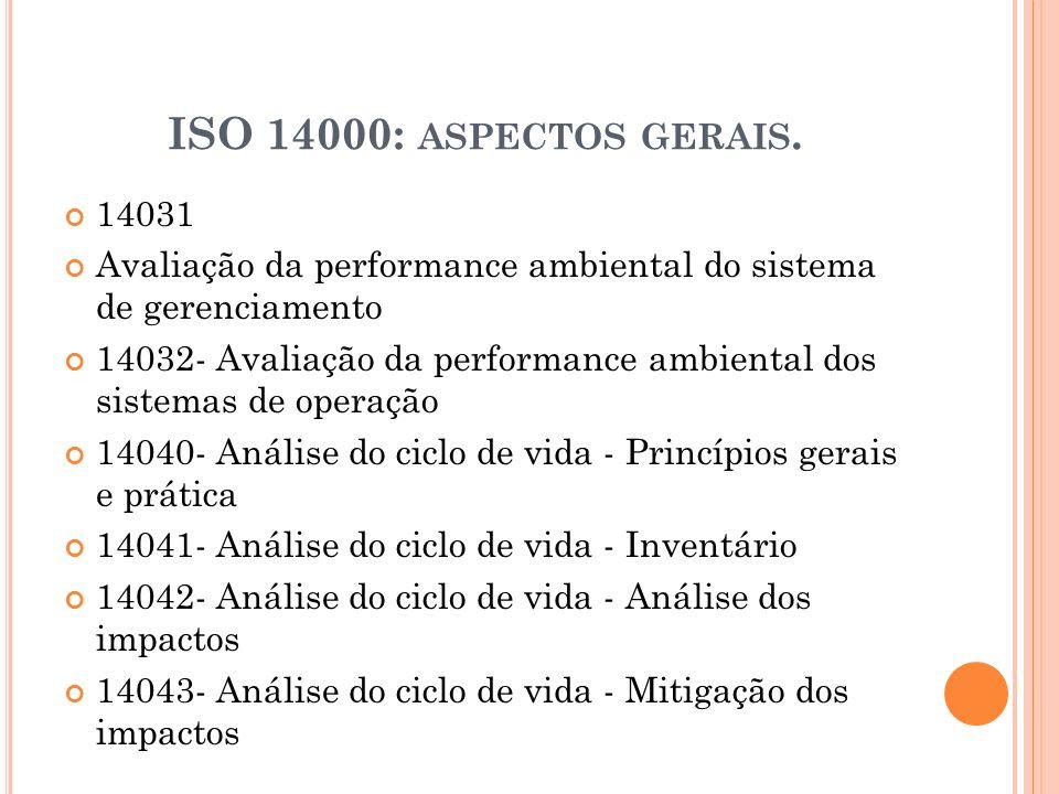 ISO 14000: aspectos gerais. 14031. Avaliação da performance ambiental do sistema de gerenciamento.