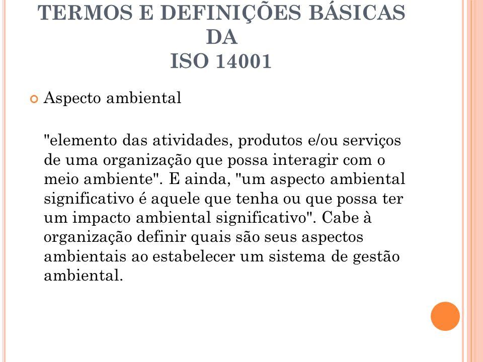 TERMOS E DEFINIÇÕES BÁSICAS DA ISO 14001
