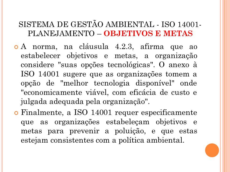 SISTEMA DE GESTÃO AMBIENTAL - ISO 14001- PLANEJAMENTO – OBJETIVOS E METAS