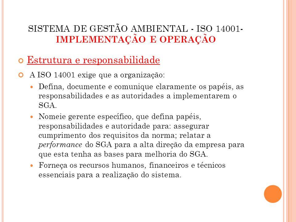 SISTEMA DE GESTÃO AMBIENTAL - ISO 14001-IMPLEMENTAÇÃO E OPERAÇÃO