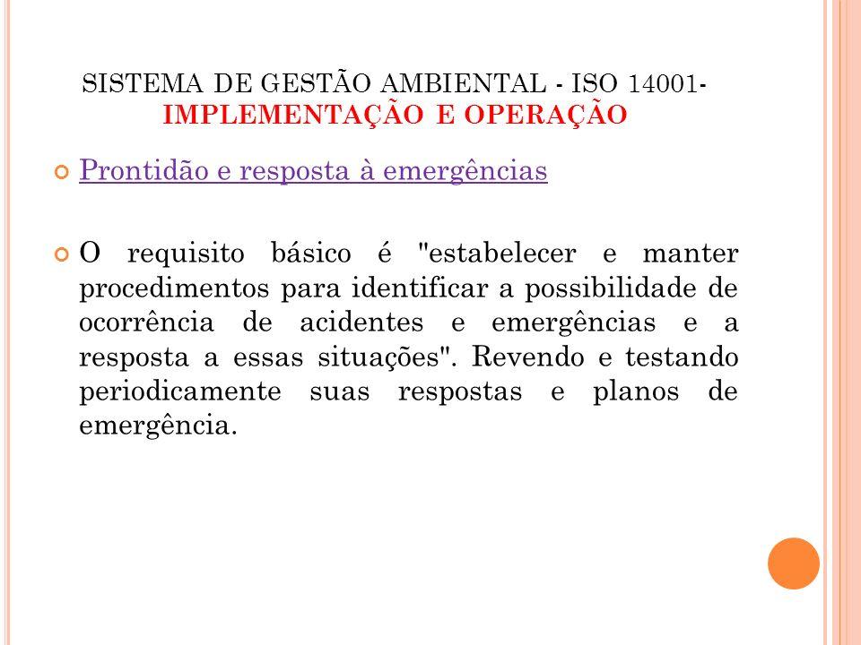 SISTEMA DE GESTÃO AMBIENTAL - ISO 14001- IMPLEMENTAÇÃO E OPERAÇÃO