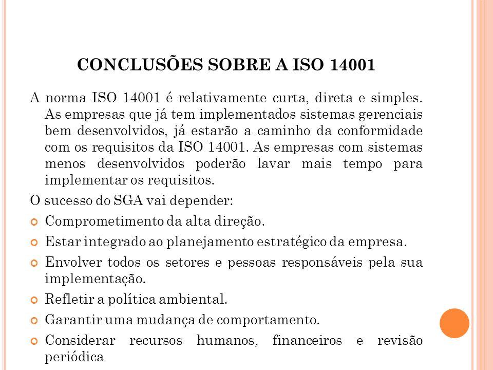 CONCLUSÕES SOBRE A ISO 14001