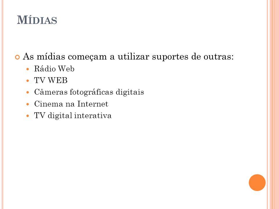 Mídias As mídias começam a utilizar suportes de outras: Rádio Web