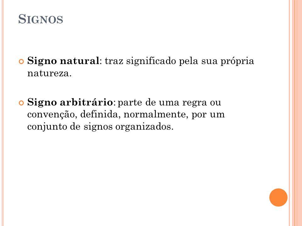 Signos Signo natural: traz significado pela sua própria natureza.
