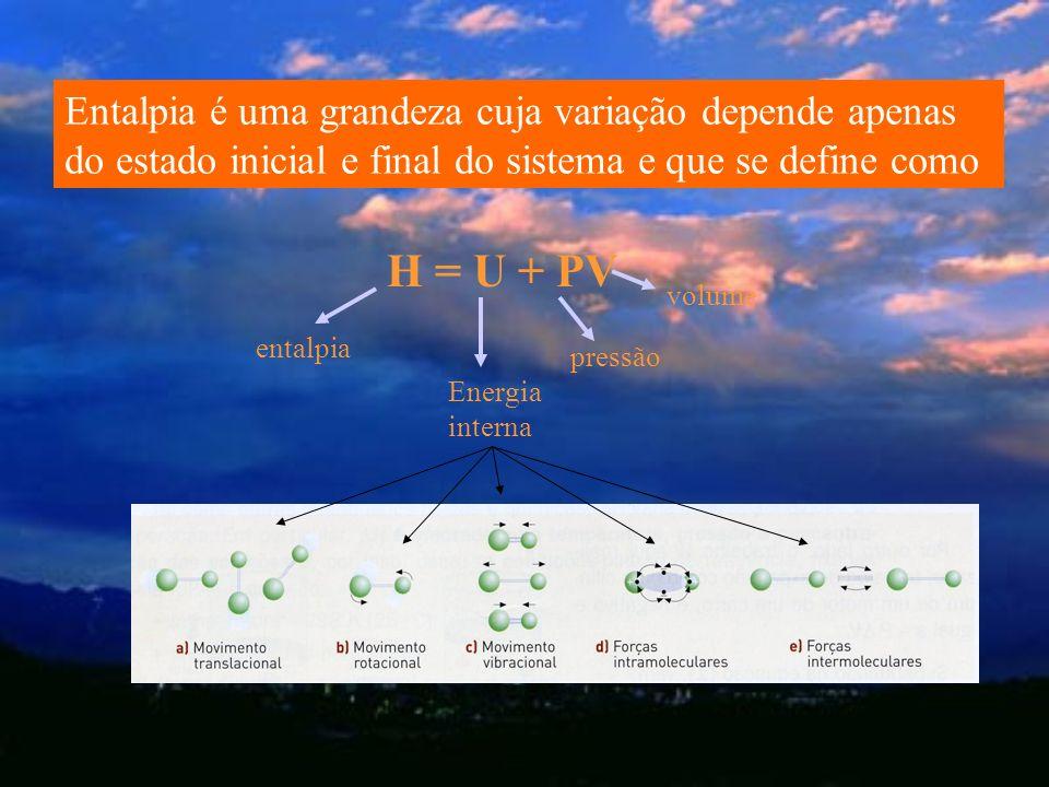 Entalpia é uma grandeza cuja variação depende apenas do estado inicial e final do sistema e que se define como