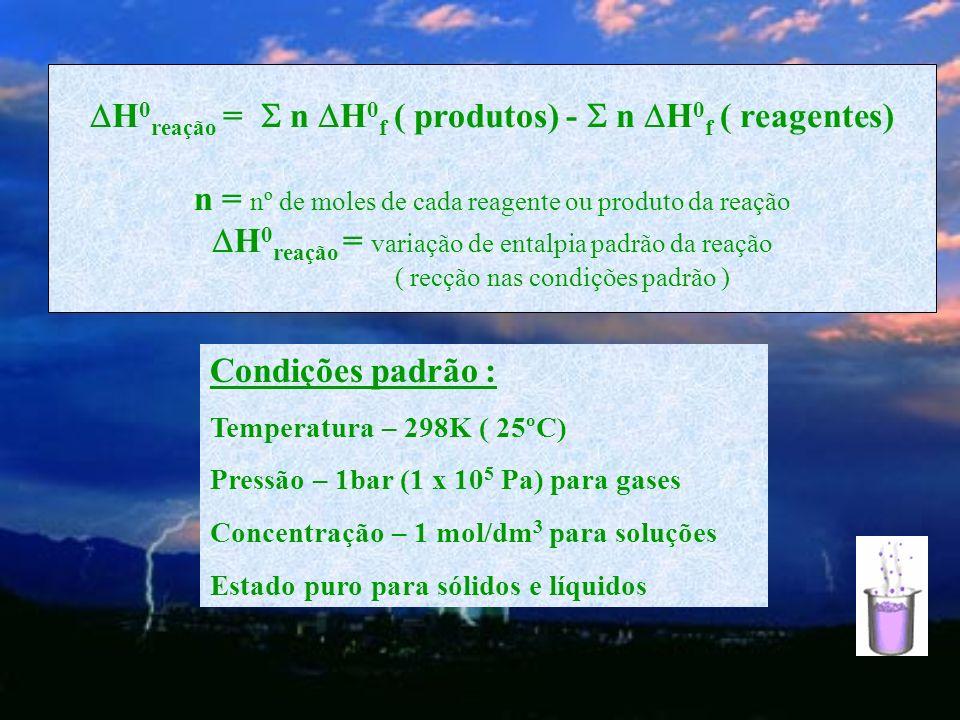 H0reação =  n H0f ( produtos) -  n H0f ( reagentes)