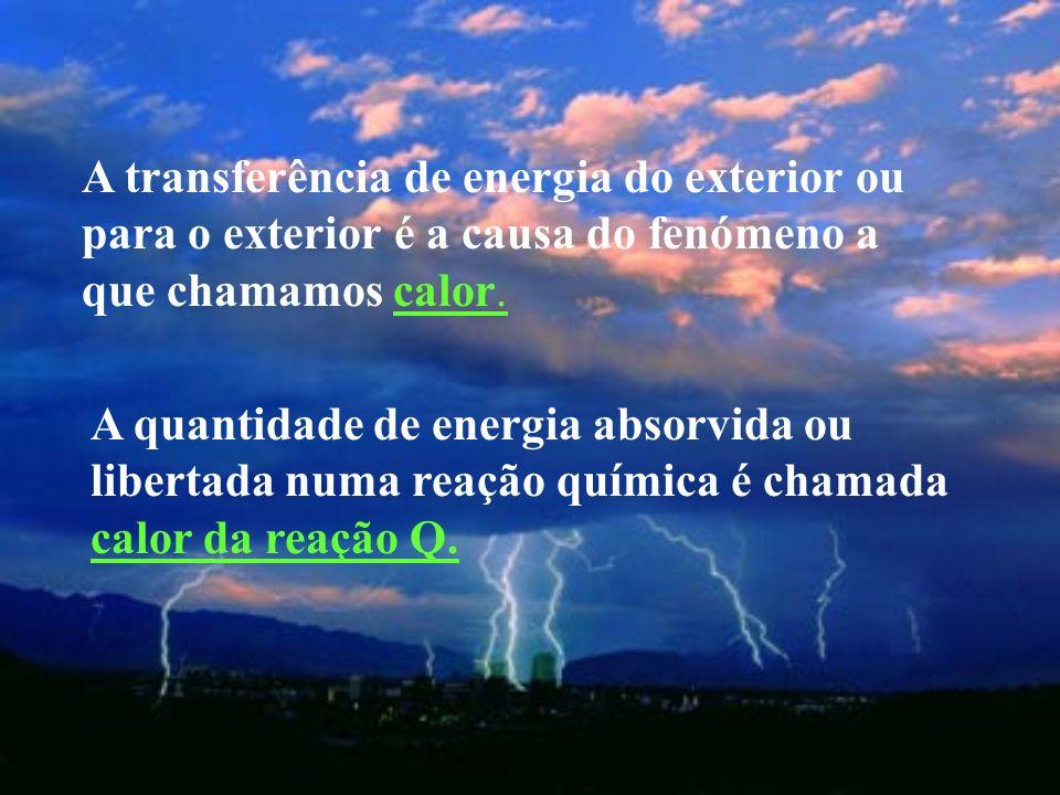 A transferência de energia do exterior ou para o exterior é a causa do fenómeno a que chamamos calor.