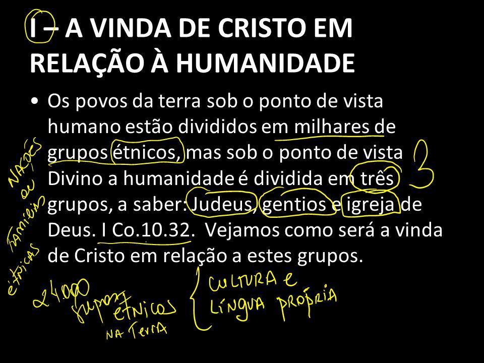 I – A VINDA DE CRISTO EM RELAÇÃO À HUMANIDADE