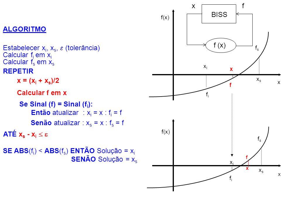 Estabelecer xi, xs,  (tolerância) Calcular fi em xi Calcular fs em xs