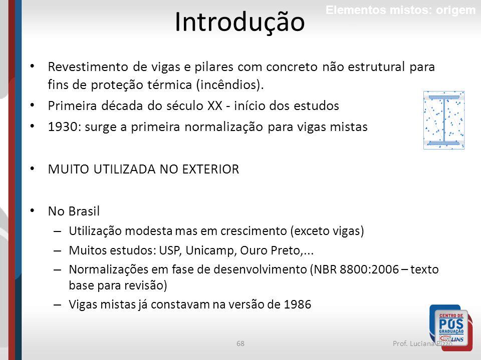 Introdução Elementos mistos: origem. Revestimento de vigas e pilares com concreto não estrutural para fins de proteção térmica (incêndios).