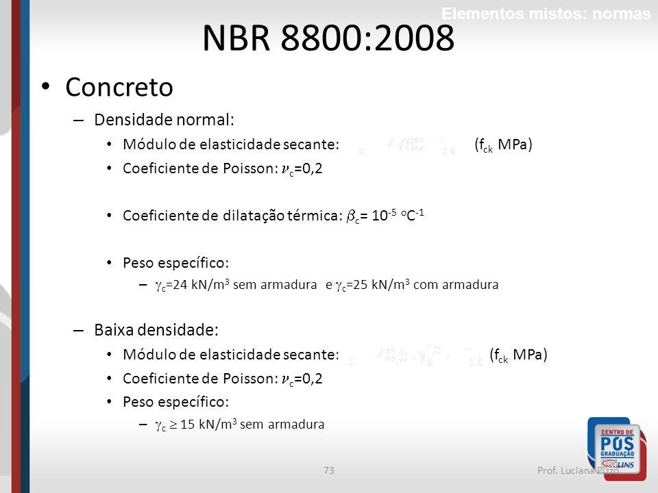 NBR 8800:2008 Concreto Densidade normal: Baixa densidade: