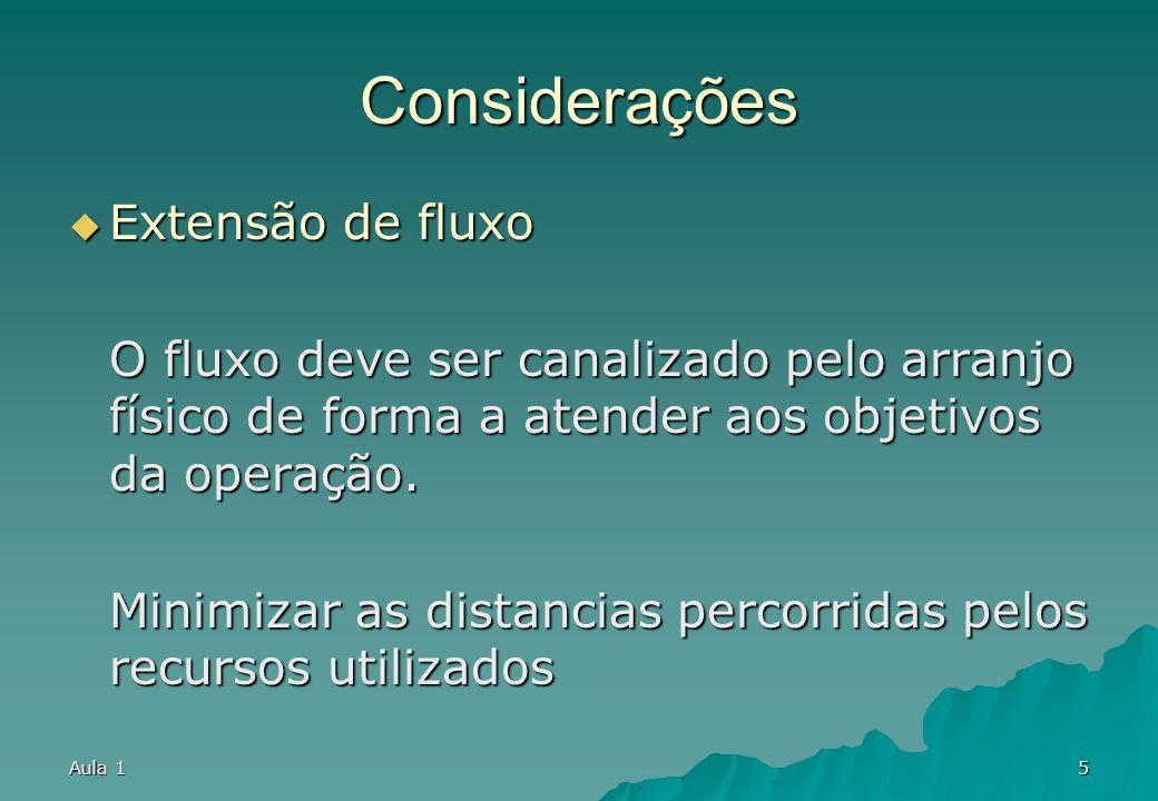 Considerações Extensão de fluxo