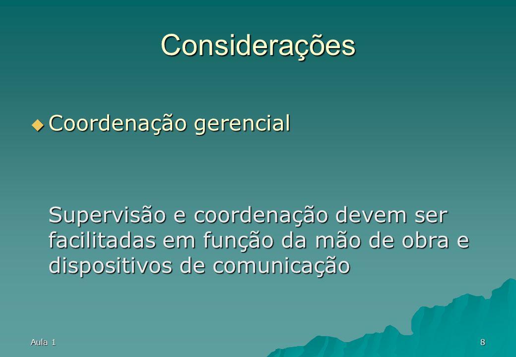 Considerações Coordenação gerencial