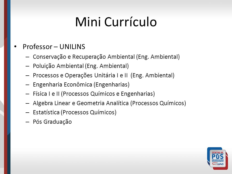 Mini Currículo Professor – UNILINS
