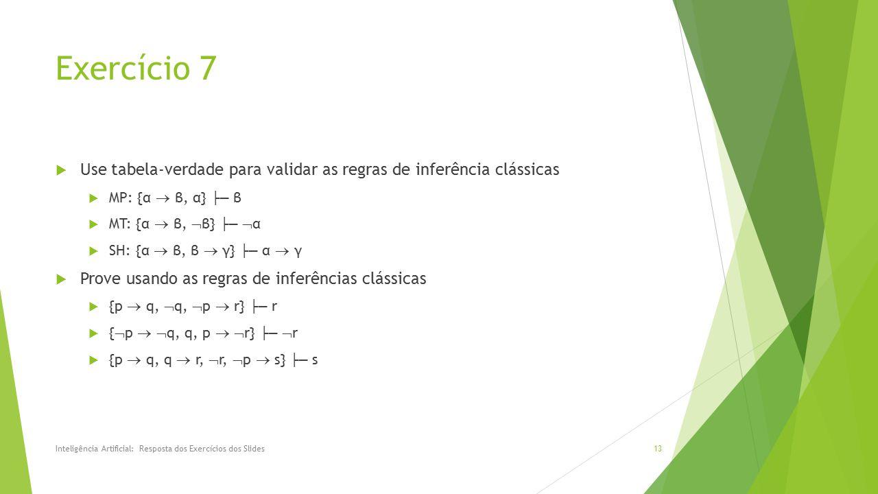 Exercício 7 Use tabela-verdade para validar as regras de inferência clássicas. MP: {α  β, α} ├─ β.