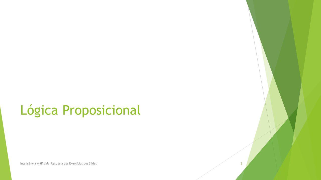Lógica Proposicional Inteligência Artificial: Resposta dos Exercícios dos Slides