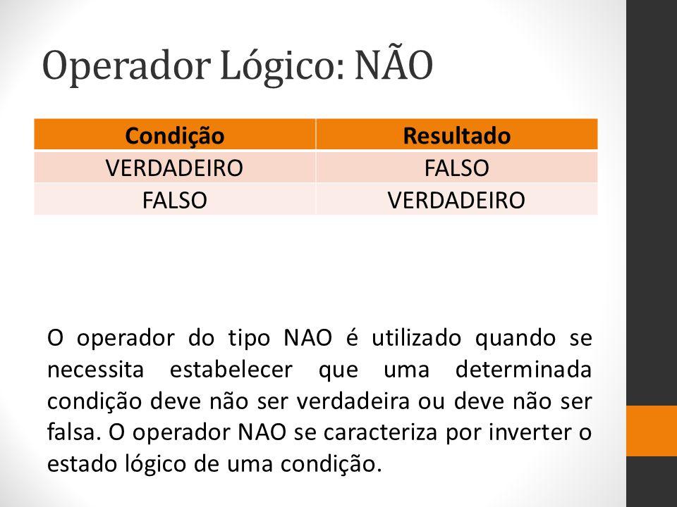 Operador Lógico: NÃO Condição Resultado VERDADEIRO FALSO