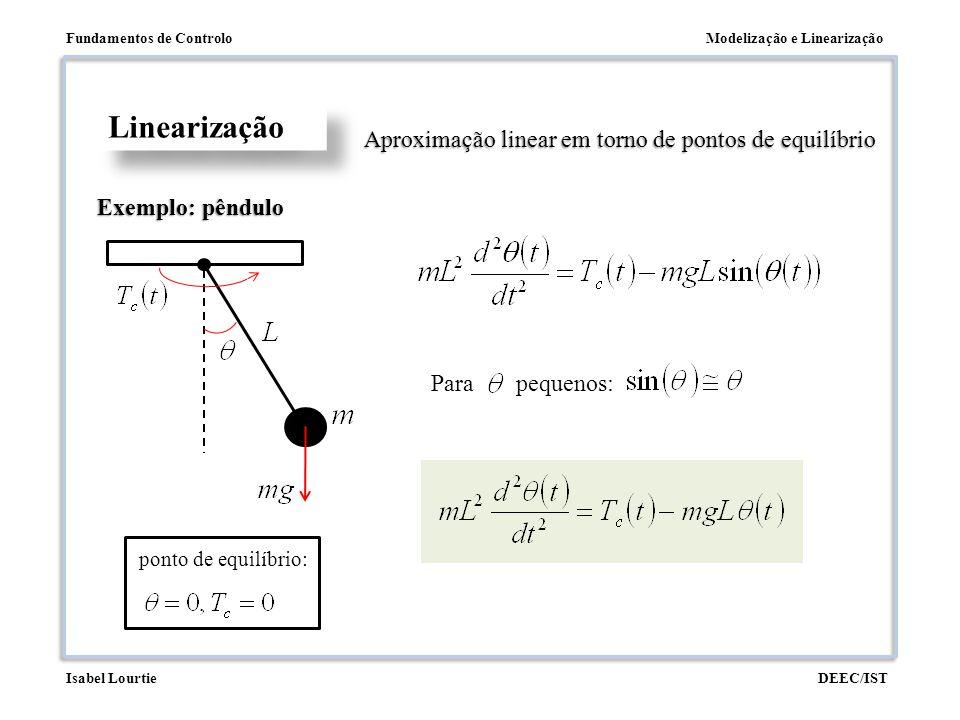 Linearização Aproximação linear em torno de pontos de equilíbrio