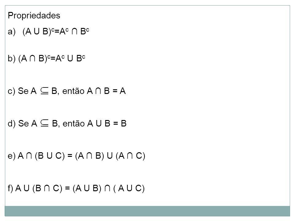 Propriedades (A U B)c=Ac ∩ Bc. b) (A ∩ B)c=Ac U Bc. c) Se A B, então A ∩ B = A. d) Se A B, então A U B = B.