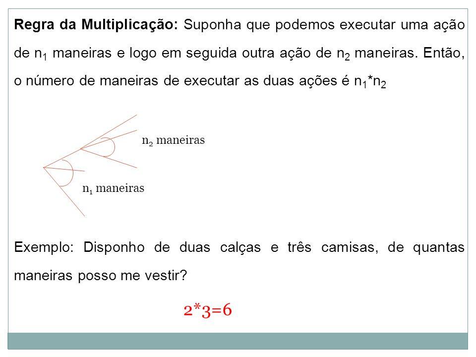 Regra da Multiplicação: Suponha que podemos executar uma ação de n1 maneiras e logo em seguida outra ação de n2 maneiras. Então, o número de maneiras de executar as duas ações é n1*n2