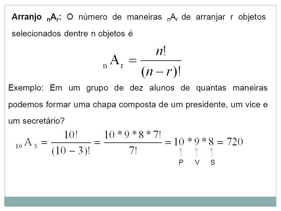 Arranjo nAr: O número de maneiras nAr de arranjar r objetos selecionados dentre n objetos é
