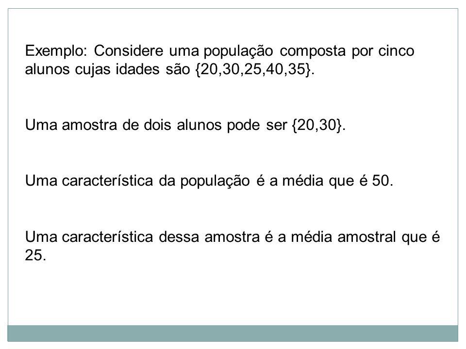 Exemplo: Considere uma população composta por cinco alunos cujas idades são {20,30,25,40,35}.