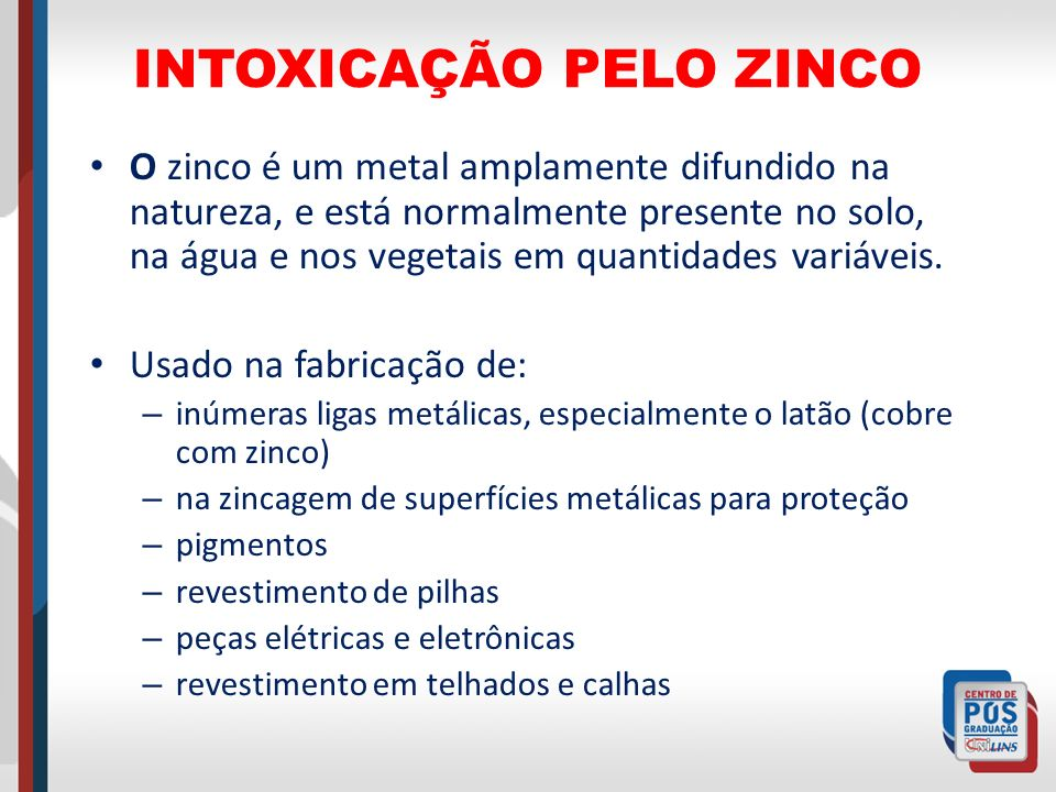 INTOXICAÇÃO PELO ZINCO