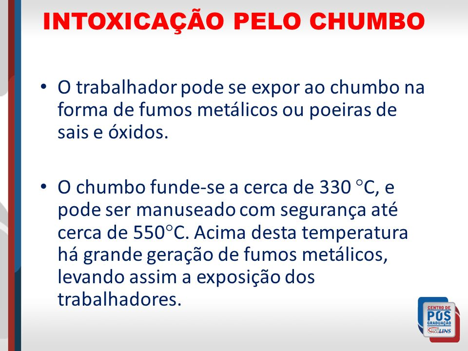 INTOXICAÇÃO PELO CHUMBO