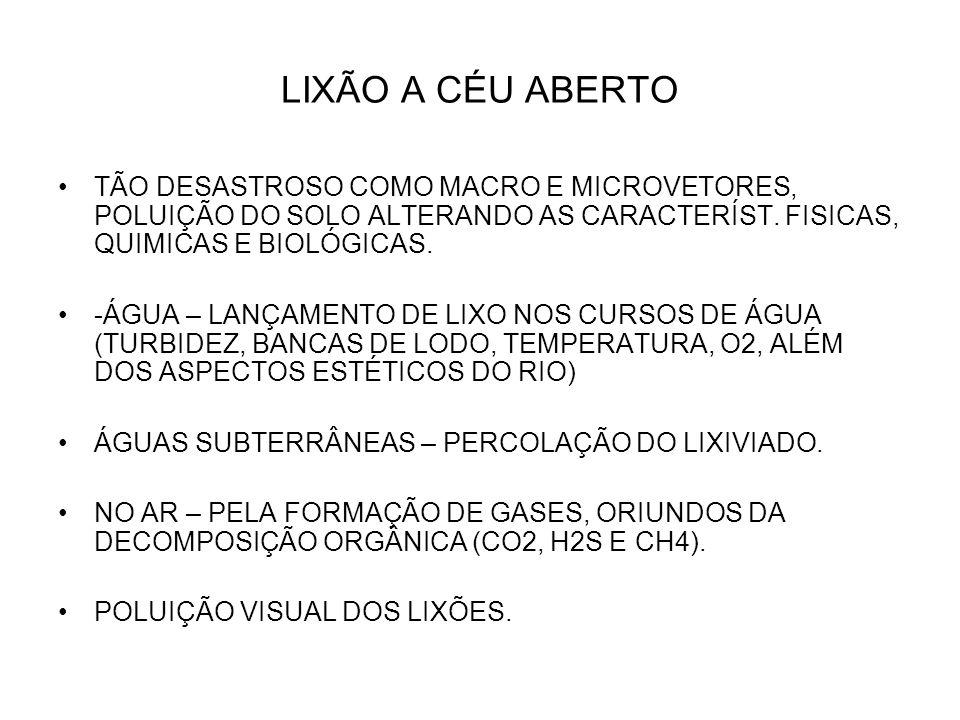 LIXÃO A CÉU ABERTO TÃO DESASTROSO COMO MACRO E MICROVETORES, POLUIÇÃO DO SOLO ALTERANDO AS CARACTERÍST. FISICAS, QUIMICAS E BIOLÓGICAS.