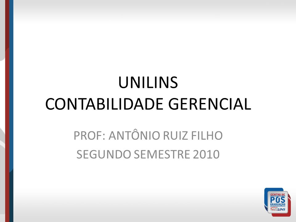 UNILINS CONTABILIDADE GERENCIAL